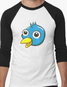 Head of cute blue cartoon bird Men's Baseball ¾ T-Shirt