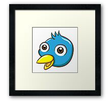 Head of cute blue cartoon bird Framed Print