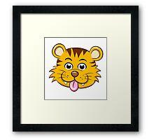 Head of funny little cartoon tiger  Framed Print