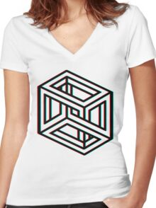 3D Impossible Box in 3D Women's Fitted V-Neck T-Shirt