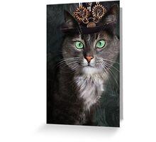 Steampunk Funny Cute Cat 3 Greeting Card