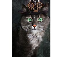 Steampunk Funny Cute Cat 3 Photographic Print