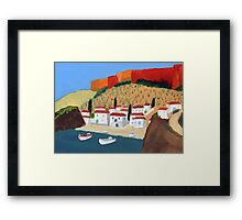 Greek Painting Small Village Framed Print