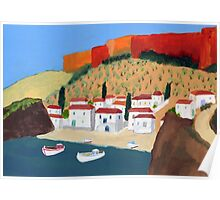 Greek Painting Small Village Poster