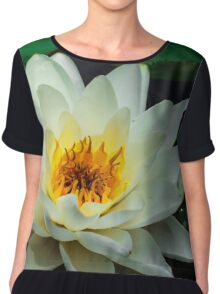 Close-up White Flower Water Lily in Pond Chiffon Top