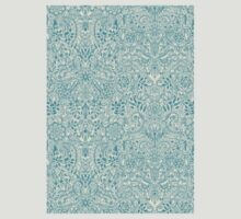 Detailed Floral Pattern in Teal and Cream T-Shirt