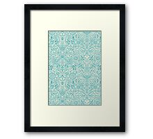 Detailed Floral Pattern in Teal and Cream Framed Print