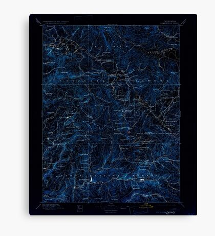 USGS TOPO Map California CA Downieville 299338 1897 125000 geo Inverted Canvas Print