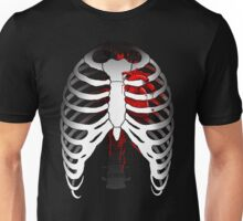 Love hurts... (Ribcage with heart) Unisex T-Shirt