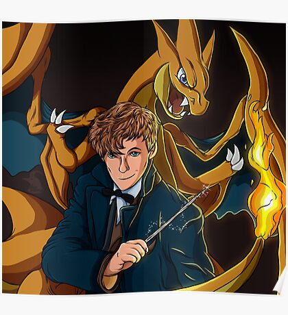 Newt Scamander - Wizard and Charizard Trainer Poster