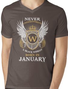 ever Underestimate A Black Woman Born In January Mens V-Neck T-Shirt