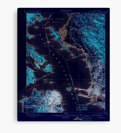 USGS TOPO Map California CA San Francisco 298894 1899 62500 geo Inverted Canvas Print
