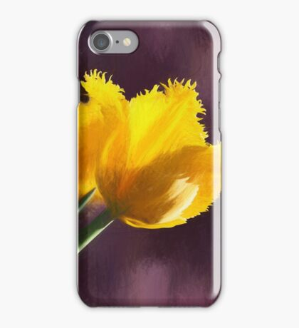 The yellow tulip against purple backgroud iPhone Case/Skin