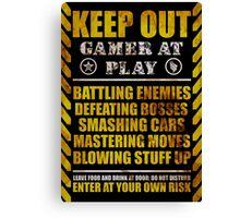 Keep Out Gamer at Play Canvas Print