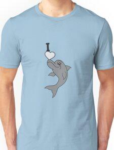 balancieren stunt trick vorführen i love liebe logo herz springender delfin cool design süß niedlich spaß  Unisex T-Shirt