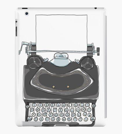 black Typewriter vintage art illustration iPad Case/Skin
