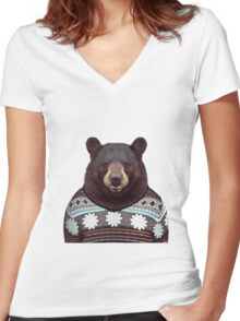 bear wearing Suiter Women's Fitted V-Neck T-Shirt