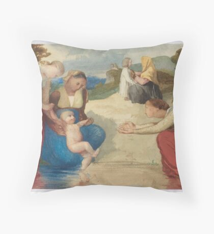 MENN, BARTHELEMY (Geneva ) Women and children by the water's edge Throw Pillow