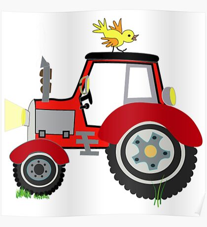 Farm Animals Funny Tractor Shirt Poster