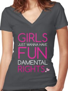 Girls Just Wanna Have Fundamental Rights Pretty Pink Beautiful Heart Women's Fitted V-Neck T-Shirt