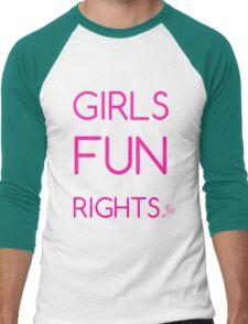 Girls Just Wanna Have Fundamental Rights Pretty Pink Beautiful Heart Men's Baseball ¾ T-Shirt