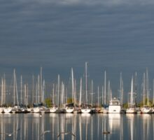 A Break in the Clouds - Gray Sky, White Yachts Sticker