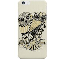 Owls – Black & Gold on Cream iPhone Case/Skin