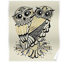 Owls – Black & Gold on Cream Poster