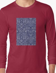 Detailed Floral Pattern in White on Navy Long Sleeve T-Shirt