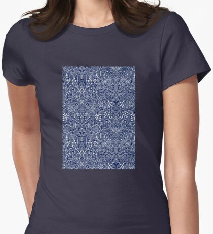 Detailed Floral Pattern in White on Navy Womens Fitted T-Shirt