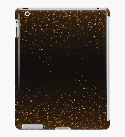 Golden glitter confetti falling on black vector background. Shining gold shimmer luxury design card. Christmas glowing snow. Scattered dust. Magic mist glowing. Stylish fashion backdrop iPad Case/Skin