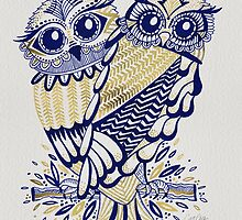 Owls – Navy & Gold by Cat Coquillette