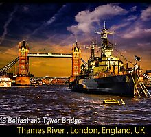 HMS Belfast and Tower Bridge  by LudaNayvelt