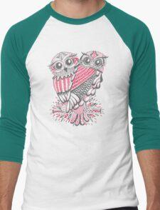 Owls – Pink & Grey Men's Baseball ¾ T-Shirt