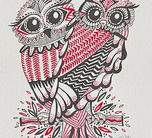 Owls – Pink & Grey by Cat Coquillette