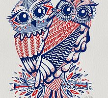 Owls – Navy & Red by Cat Coquillette