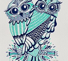 Owls – Turquoise & Navy by Cat Coquillette