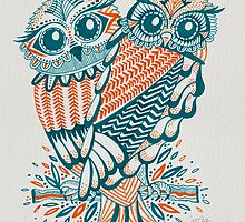 Owls – Teal & Orange by Cat Coquillette