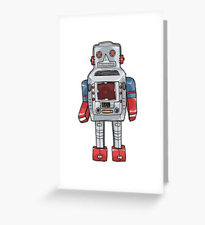 Sparky Robot vintageToy hand drawn cute  illustration Greeting Card