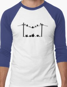 Angry Birds on a wire Men's Baseball ¾ T-Shirt