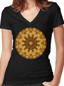 Heart of Gold Mandala Women's Fitted V-Neck T-Shirt