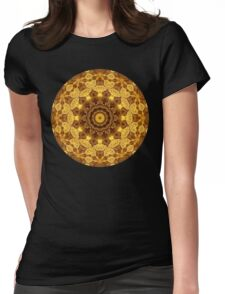 Heart of Gold Mandala Womens Fitted T-Shirt