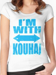 I'm With Kouhai (BLUE) Women's Fitted Scoop T-Shirt