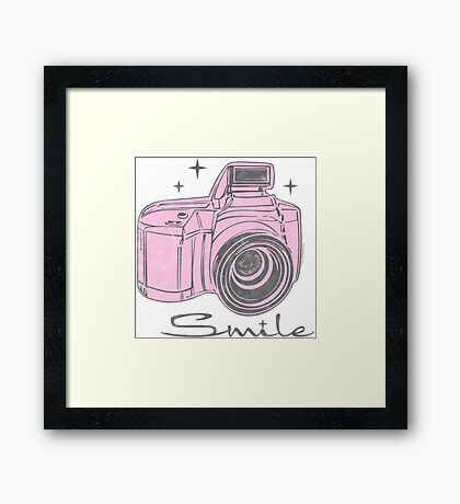 Camera Smile- womans photography shirt Framed Print