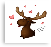 Lovestruck Moose Canvas Print