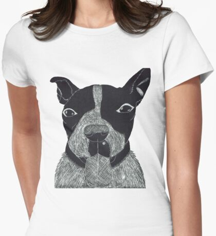 Scratch Art of a Staffordshire Bull Terrier Womens Fitted T-Shirt