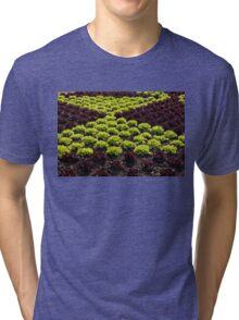 Fresh Spring Checkerboard Pattern in Lime Green and Burgundy Tri-blend T-Shirt
