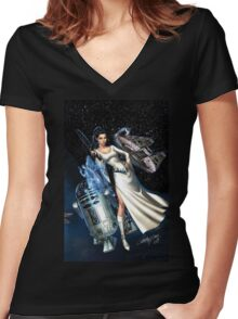 princes leia Women's Fitted V-Neck T-Shirt