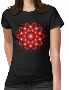 Red Cosmos Mandala Womens Fitted T-Shirt