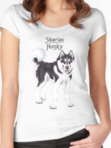 Black Siberian Husky (with text) Women's Fitted Scoop T-Shirt